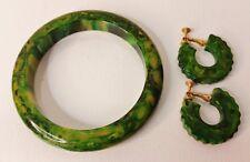 VINTAGE 40s Green Yellow Marbled BAKELITE Bangle Bracelet Clip Hoop Earring SET