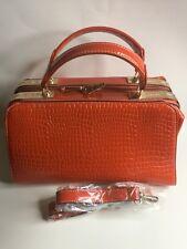 Orange Snake Skin Leather Shoulder and Crossbody Bag.