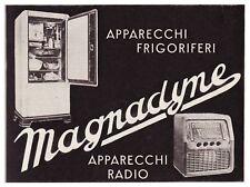 PUBBLICITA' 1939 RADIO FRIGORIFERI MAGNADYNE PAOLO DEQUARTI POZZO STRADA TORINO