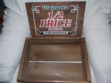 Vintage Walgreens Wood Crate Box w/Removable Lid 16 x 11 x 4.5