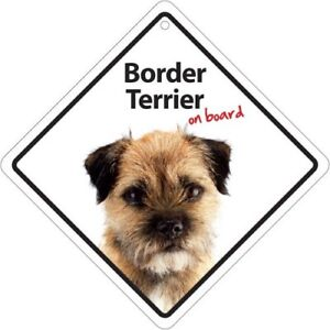 Border Terrier On Board Plastic Car Sign