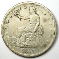 1874-CC Trade Silver Dollar T$1 - XF Details - Rare Carson City Coin!
