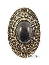Vintage Bronze Large Tribal Black Pearl Jewellery Adjustable Ring