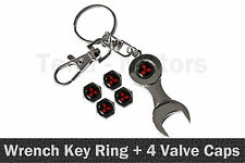 Mitsubishi Spanner Wrench Key Ring Chain Keyring + 4 Tyre Tire Valve Caps /1109