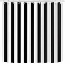 Nice Black and White Vertically Striped Modern Waterproof Fabric Shower Curtain