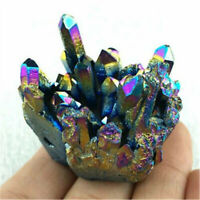 Natural Rainbow Crystal Titanium Cluster Quartz Mineral Specimen Reiki HealingAU