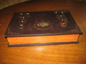 Rare Large Embossed Studded Lined Real Leather & Wood Storage Secret Book Box