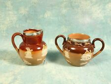 DOULTON LAMBETH Creamer Sugar Salt Glazed Stoneware Applied Hunt Scenes ANTIQUE
