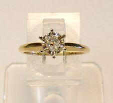 14kt YELLOW GOLD 1/3 ct EUROPEAN CUT SOLITAIRE DIAMOND ENGAGEMENT RING Sz 5-3/4