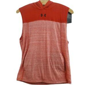Under Armor Hoodie Tank Top NWT Boys L 14-16 Heatgear Red Sleeveless Pocket