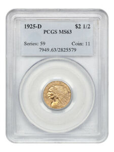 1925-D $2 1/2 PCGS MS63 - 2.50 Indian Gold Coin