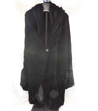 Habit Womens OS Black Crushed Velvet Coat Cape W Soustache Braid Cuffs Vintage
