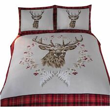 CHRISTMAS STAG TARTAN WHITE RED 100% BRUSHED COTTON SINGLE DUVET COVER