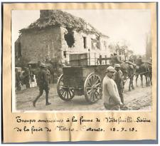 Guerre 14/18, Troupes américaines à la ferme de Vertefeuille  Vintage print. WWI