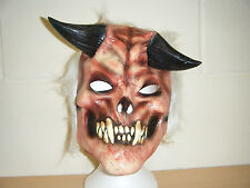 BLANC CORNES DIABLE ZOMBIE MONSTER COSTUME HALLOWEEN ADULTE MASQUE LATEX