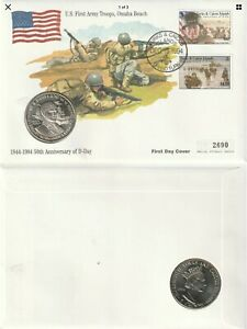 TURKS & CAICOS 1994 D DAY ANNIVERSARY OMAHA 5 CROWN COMM COIN FIRST DAY COVER
