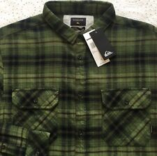 QUIKSILVER Men's Green Brown Plaid Flannel Shirt XL X-Large Modern Fit NWT NICE!