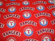 "Texas Rangers Baseball MLB Red Design Cotton Fabric 13"" x 12""/Yardage NEW"
