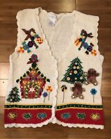 Ugly Christmas Sweater Vest Button-Down Gingerbread House White Women's Size L