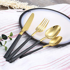 16 Pieces Solid Stainless Steel Cutlery Set Gold Plated With Black Gold Handle