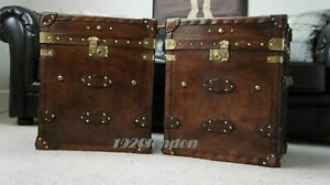 Pair Of Finest English Leather Antique Inspired Side Table Trunks Amazing Item Z