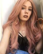 "24"" Women Fashion Heat Safe Smoke Pink Lace Front Wig Synthetic Hair Long Wavy"