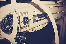 "Vintage 1962 VW Bug (Beetle, Herbie) Car Dashboard COLOR Photo 4""X6"""