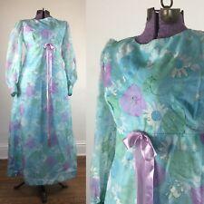 TRUE VINTAGE 1960s 60s dress Blue floral formal maxi long prom costume medium