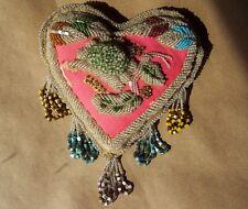 "Antique Native American Mohawk Iroquois Beadwork Heart Shape Pincushion 8.5""x11"""
