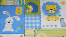 SNUGGLE FLANNEL BLUE ALPHABET ANIMAL  BLOCKS 1 YARD BTY