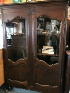 Belgian Oak Enclosed Bookcase with glass