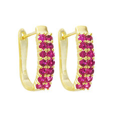 Sterling Silver Gold Finish Pink Cubic Zirconia Hoop Earring