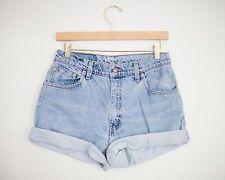Vintage LEVI'S Light/Medium Wash High Waisted Cut Offs Cuffed Denim Shorts - 29