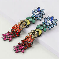 Women Geometric Colorful Crystal Rhinestone Long Dangle Earrings Gems Jewelry