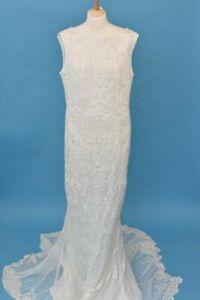 """Monsoon Bridal White Sleeveless Beaded & Sequin Wedding Dress UK Size 18 38"""""""