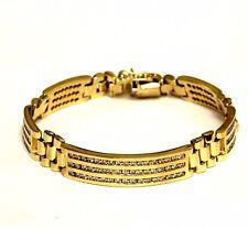 "14k yellow gold 5ct SI2 J-K mens diamond tennis bracelet 50g vintage 8 1/4"""