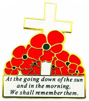 Red Poppy Flower Remembrance Day White Cross Enamel Metal Lapel UK Pin Badge