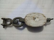 Vintage Wood-Bronze Double Pulley