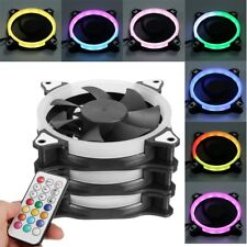 3 PCS LED Lights RGB Adjustable 120mm PC Computer Case Cooling Fan+ IR Remote