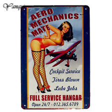 Aero Mechanics Mate Full Wall Decor Full Service Hangar Open Metal Sign Retro