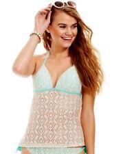 Hula Honey Crochet Push Up Tankini Swimsuit Top Natural/Seafoam Size Small