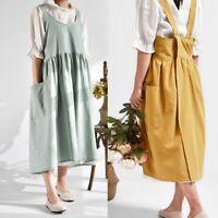 Women Apron Cotton Linen Pinafore Dress Kitchen Cafe House Florist Workwear Hot