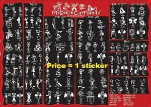 """"""" My Stick Car Family """"  Stickers Stick Figure Family Decal Car Window Stickers"""