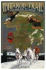 Iditarod Trail Sled Dog Race Alaska Anchorage Nome AK Map Husky, Modern Postcard