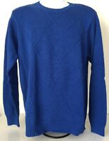 Izod Men's Blue Crew Neck Cotton Sweater - Size Medium