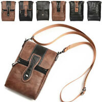 "Cross Body Bag 6.3"" Waist Bag Pouch Belt Loop Holster Leather Wallet Case Cover"