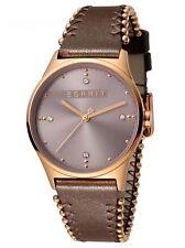 Esprit Drops 01 Pink D.Brown Uhr Damenuhr Lederarmband Braun ES1L032L0045