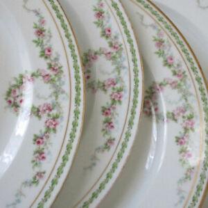 "7 Antique LIMOGES Porcelain 9.5"" Plates WREATHS + Swags of PINK ROSES Gilt Trim"