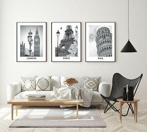 Set of 3 Framed Prints Posters City Black White London Paris Piza Wall Art A3