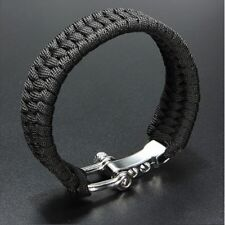 Hiking Steel Shackle Buckle Bracelet Rope Paracord Outdoor Camping Wristband New